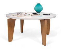 Mesa de centro en DM y madera maciza Magnolia – blanco y roble