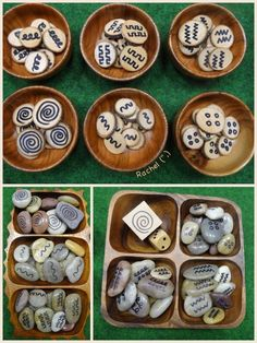 """Pattern stones, patterned wood chips and a pattern dice from Rachel ("""",)"""