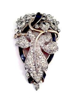 Vtg 1940 A Philippe Crown Trifari Vermeil Rhinestone Empress Eugenie Dress Clip   eBay