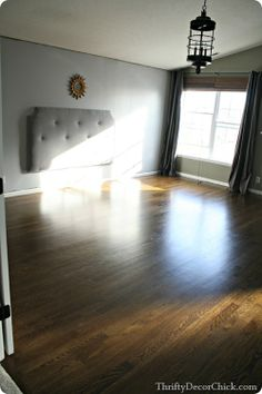 Finished hardwood floors with a Jacobean stain in the Master!