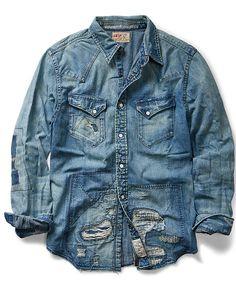 6975771b7e Repaired Denim Western Shirt