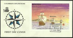 Redonda is a very small, uninhabited Caribbean island which is part of Antigua and Barbuda, in the leeward Islands, West Indies.    Christopher Columbus discovered Redonda on November 11, 1493 on his second voyage to the New World. This event is commemorated by this First Day Cover issued 21 March 1988. He claimed The island for the Spanish Kings, but did not land there as shown by the souvenir sheet.     He named the island Santa María la Redonda, meaning Saint Mary the Round.