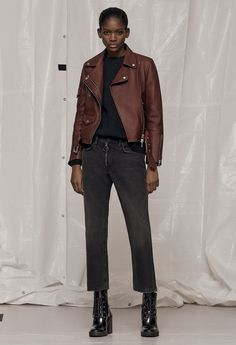 AllSaints Women's January Lookbook Look 2: Harland Leather Biker Jacket, Jago Crew Neck Jumper, Track Boyfriend Jeans, Cacey Boot.
