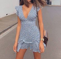 Design V-neck Sexy Halter Bow Dress from clothing - Kleidung Mode Outfits, Casual Outfits, Fashion Outfits, Floral Outfits, Ootd Summer Casual, Teen Party Outfits, Sun Dress Casual, Girl Fashion, Floral Skirts