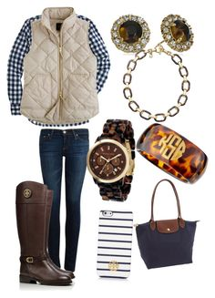 Perfect outfit!! by mmullin on Polyvore featuring J.Crew, AG Adriano Goldschmied, Tory Burch, Longchamp, Michael Kors, Moon and Lola and Kate Spade