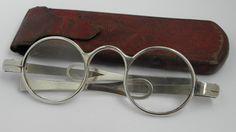 RARE ANTIQUE 18TH CENTURY GEORGIAN SOLID SILVER SPECTACLES c1790 IN ORIG CASE $300