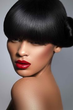 Normally I would comment o the hair but I'm loving the red lip