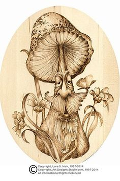Shaded Mushroom Pyrography Project by Lora Irish
