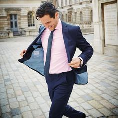 Men's Pink Shirt With Navy Suit