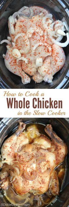 See how easy it is to cook a whole chicken in the slow cooker from 5DollarDinners.com