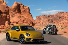 Volkswagen Premieres Its Very Orange And Slightly More Rugged Beetle Dune At LA Auto Show - Auto News - Carlist. Volkswagen New Beetle, Volkswagen Models, Volkswagen Golf, Beetle Bug, Baja Bug, Beetle Convertible, Miniature Cars, Audi A1, Retro Futurism
