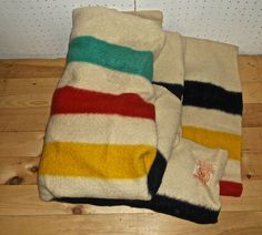"Vintage HUDSON'S BAY 4 POINT Made in ENGLAND Striped Wool BLANKET 87"" x 72.5"""