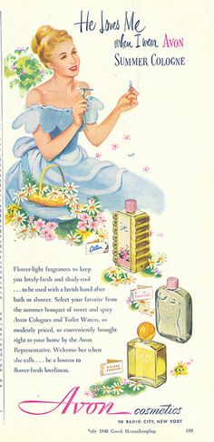 Vintage Avon Cosmetics Ad 1948 the year I was born! Mom was already buying AVON...she never stopped!