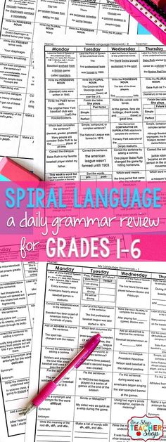 Daily Language spiral review sheets for the Common Core Standards.  Covers all Grammar and Word Study standards! Use for homework, morning work, warm-ups, or center work! 100% Editable with Answer Keys.  Available for 1st, 2nd, 3rd, 4th, 5th, and 6th grade.