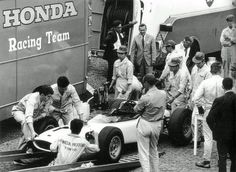 Honda Team Nurburgring 1964 Honda unload their RA271 at the Nurburgring upon their GP debut, German GP 1964