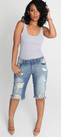 Cut-Off Point Medium Wash Distressed Bermuda Shorts | Distressed ...