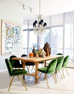 Velvet is perfect and luxe in a modern space. Nate Berkus does it right.
