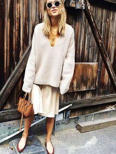 slouchy knits, slips & mini bags... love.