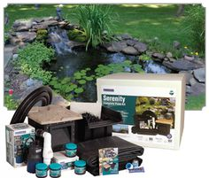 PondBuilder Serenity Pond Kit is perfect for small water gardens with a few fish and plants. Water Feature Kits, Pond Kits, Small Water Gardens, Pond Waterfall, Water Features, Serenity, Custom Design, Outdoor Decor, Plants