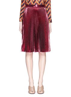 GUCCI - Lurex voile pleated skirt   Metallic Knee-Length Skirts   Womenswear   Lane Crawford - Shop Designer Brands Online