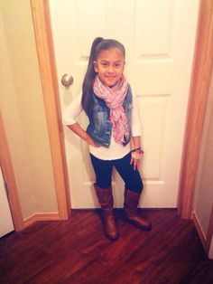 Hair-Side Ponytail, Outfit- Grey with Pink Heart Scarf (Zulily), Denim Vest (Target), White long sleeve (Target), Black leggings (Target, and Brown knee length boots (Zulily), Accessories- 3pc Bangles (Crazy 8) SophiaAlexis