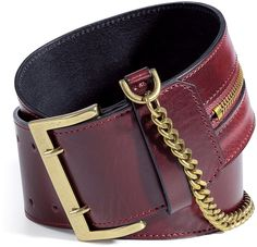 MCQ ALEXANDER MCQUEEN Oxblood Wide Leather Belt with Chain