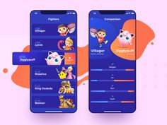 What you see above is a mobile app design I created here at Zajno based on an immensely popular crossover fighting game. The app presents the full list of the game characters allowing t. Ui Design Mobile, Design Ios, Game Ui Design, Mobile Ui, Mobile Game, Play Fighting, Fighting Games, Game Development Company, Two Player Games