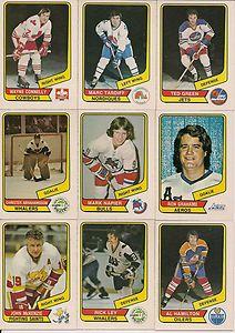 Some classic 1976-77 O-Pee-Chee WHA hockey cards.