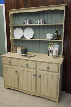 This country style pine welsh dresser painted in Annie Sloan Old Ochre & Duck Egg Blue is the perfect storage solution for your kitchen