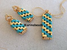 TUTORIAL Half Tila Pendant & Earrings by MarinaBeads06 on Etsy// Tutorial for purchase. Classic in style, yet edgy!