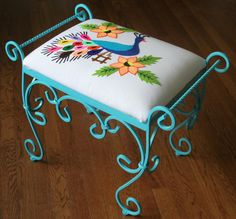 Island Style Turquoise Peacock Vanity Stool Bench Needlepoint, great pattern