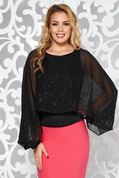 StarShinerS black elegant women`s blouse with tented cut voile overlay with bright details, bright details, tented cut, cut-out sleeves, long sleeves, voile overlay