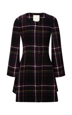 Honor Plaid Fitted A-Line Coat by Honor for Preorder on Moda Operandi