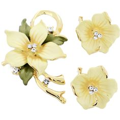 Yellow Poinsettia Swarovski Crystal Flower Pin Brooch And Earrings Gift Set
