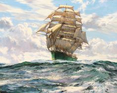 """Artworks of Montague Dawson_""""Blowing Hard The Thermopylae"""""""