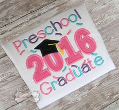 Preschool 2016 Graduate Handmade Embroidered Shirt in Pink, Purple & Teal