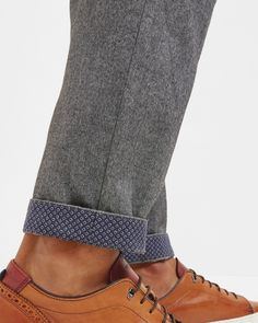 Classic fit cotton trousers - Charcoal | Trousers | Ted Baker UK