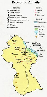 Guyana Economic Activity. This map locates the areas of Industry, Mining, Fishing, and Agriculture in Guyana.