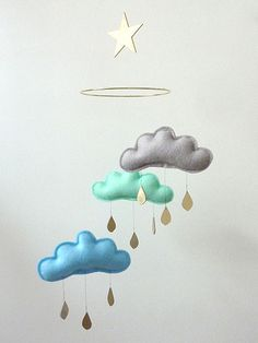 rain cloud mobile with felt clouds and gold raindrops