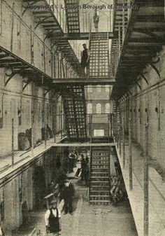 Brixton Prison Interior, Brixton Hill 1902 I used to work here! After this pic was taken! Victorian London, Victorian Prison, Vintage London, Old London, London History, British History, Brixton Hill, Abandoned Prisons, Through The Looking Glass