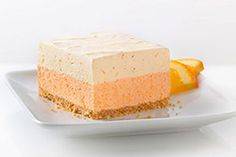 Orange Dream Layered Squares Recipe - Kraft Recipes Use unsweetened orange juice and sugar free gelatin/puddings Kraft Foods, Kraft Recipes, Desserts Rafraîchissants, Dessert Recipes, Recipes Dinner, Dessert Healthy, Strawberry Desserts, Yummy Treats, Sweet Treats