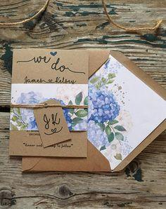 Spring wedding invitations Blue Hydrangea floral rustic