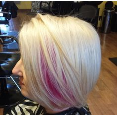 Blonde with a pink peekaboo #wella #pravana
