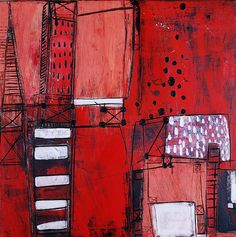 red city-gilhooly-lo by gilhooly studio (Barbara Gilhooly; acrylic, carving on birch)