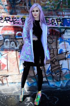Get this look: http://lb.nu/look/8209387  More looks by Alyssa Claire: http://lb.nu/alyssaclairee  Items in this look:  The Ragged Priest Hologram Jacket, Yru Nightmare Reflectives, Hidden Cult Tri Blk Dress   #artistic #edgy #punk