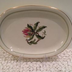 Franconia K&A Krautheim Selb Bavaria Blossoms Of Spring Oval 12 Inch Platter,Tableware,Lg. Pink Flower,Green Band,Gold Trim,Bavaria,Germany by Sunshineoftreasures on Etsy
