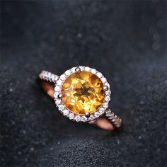Fancy 18K Rose Gold Round Cut 8mm Citrine Halo Engagement Ring November Birthstone Citrine Gift