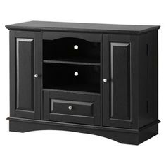 "Wood TV Stand with Storage - Black (42"")"