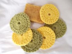 If you can't crochet, get someone to make these scrubbies for you. Natural cotton facial scrubs are great for gentle exfoliation.