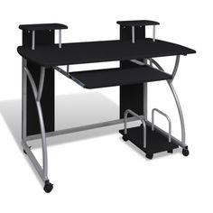 Computertisch Schreibtisch Büro Mobiler Computerwagen PC-Tisch Laptop schwarz #Ssparen25.com , sparen25.de , sparen25.info